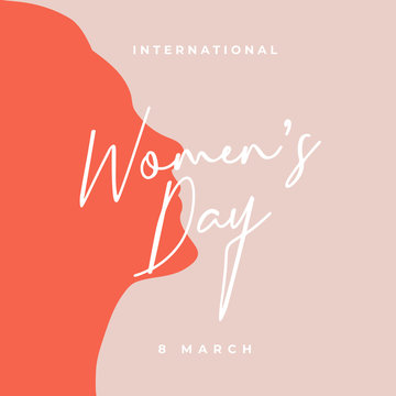 International Women's Day poster background template design with feminine typography font and beautiful girl silhouette vector illustration