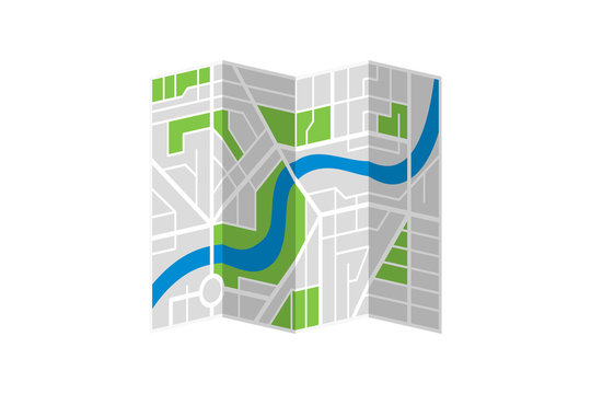 Generic imaginary city street folded map plan with river. Vector colorful town flat eps illustration isolated schema