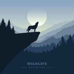 wolf on a cliff howls at full moon blue nature landscape vector illustration EPS10