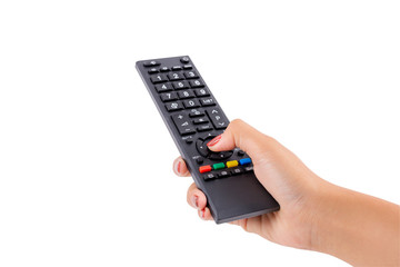 Woman hand holding TV remote control with clipping path isolated on white background.