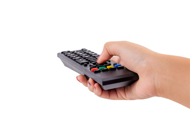 Fototapeta Woman hand holding TV remote control with clipping path isolated on white background. obraz