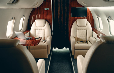 Cabin of private jet