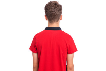 Fototapete - Teen boy student - back view, isolated on white background. Photo of child in red - rear view.