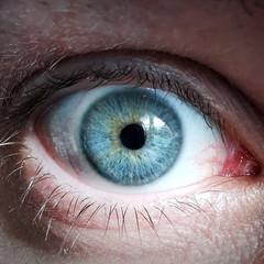 Auge Pupille nah, super makro, Blauäugig