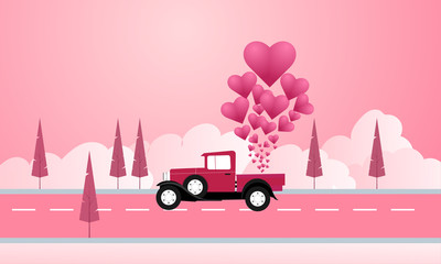 Valentine Illustration with Truck and Lovely nature