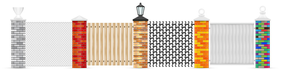 Brick fence posts vector isolated. Brick vector pillars of different colors with variuos top head design. Chain-link fencing, wooden fence, wrought iron and solid white vynil panel. Black garden lamp.