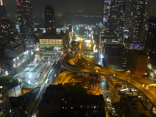 Keuken foto achterwand Buenos Aires HIGH ANGLE VIEW OF ILLUMINATED STREET AMIDST BUILDINGS IN CITY AT NIGHT