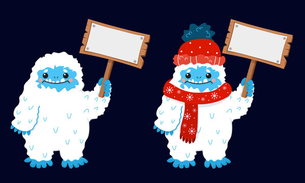 Cute snow yeti with blank sign placard hold in hand vector image. Isolated on dark background. With winter clothes