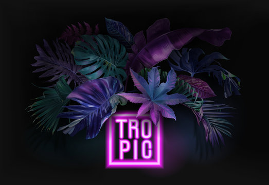 Vector neon banner with tropical leaves on black