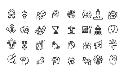 Motivation Icons vector design black and white