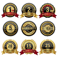 set of warranty badges and labels