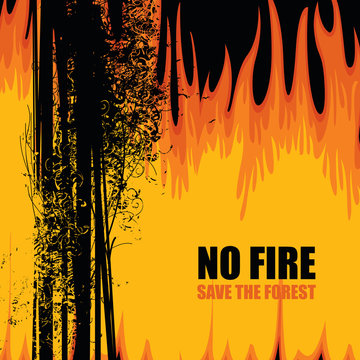 Vector banner on the theme of forest fires with the text-No fire, Save the Forest. Abstract illustration with black silhouettes of burning trees. The concept of ECO-Poster