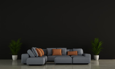 Modern living room interior design and black wall texture background