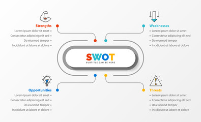 SWOT Analysis. Infographic with four steps. Vector