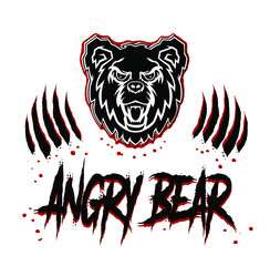 Grunge angry bear head face with teeth and open mouth silhouette stencil drawing illustration in black and red colors with traces of paws with claws.Tattoo,emblem,print for t shirt,sticker,badge,lable