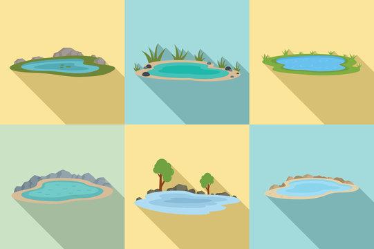 Lake icons set. Flat set of lake vector icons for web design