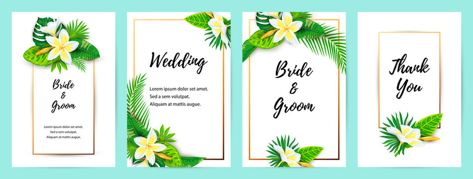 Invitations with jungle leaves, tropical flower plumeria. Vector illustration summer templates. Place for text. Great for SPA flyer, beauty offer, wedding, poster, baby shower, bridal shower.