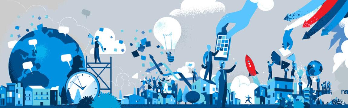Società dell'Innovazione e della Comunicazione - Illustrazione vettoriale