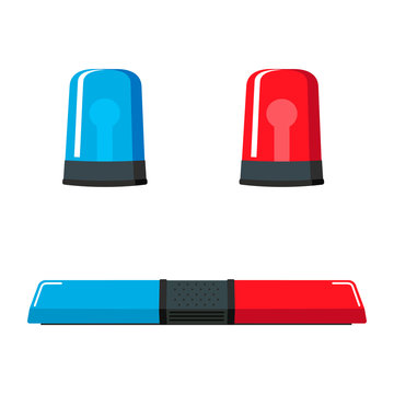 Vector flat set of red and blue lights on top of police car or siren illuminated. Ambulance car warning lights alarm