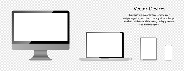 Realistic Computer monitor, Laptop, Tablet and Phone with white screens. Screen mockup. Electronic Devices and Gadgets, isolated on transparent background. Vector illustration