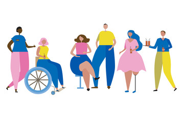 A inclusive people with disabilities, black skin, LGBT or plus size isolated on a white background, a flat vector stock illustration with hypertrophic adult or teen men or women at a party