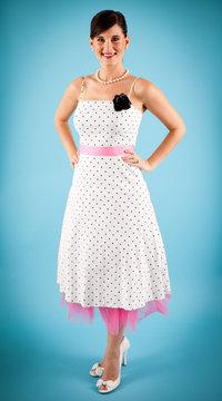 Retro Young Woman Wearing Polka Dot Dress
