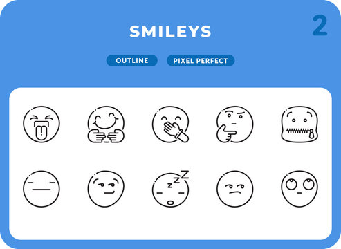 Smileys Outline Icons Pack for UI. Pixel perfect thin line vector icon set for web design and website application.