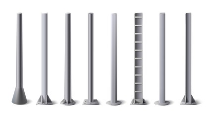 Obraz Metal poles. Steel construction pole, aluminum pipes and metal column vector illustration set. Bundle of metallic vertical pillars, posts, rails for upright support in construction and engineering. - fototapety do salonu
