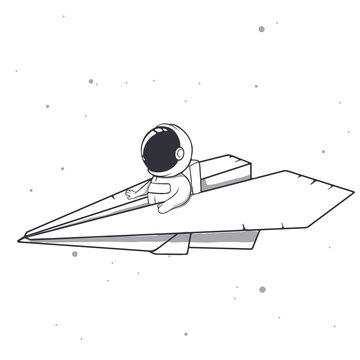 baby astronaut flies on a paper airplane