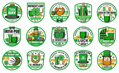 Patricks day holiday icons. Vector Saint Patrick with green beer, Irish flag and bagpipes, golden horseshoe and clover leaf, leprechaun with golden coins in cauldron and hat