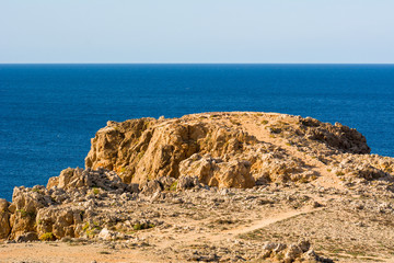Rock formations on the north coast of the island of Menorca. Spain