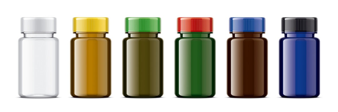 Set of Colored bottles for pills. Glossy transparent version.
