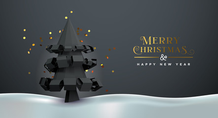 Wall Mural - Christmas new year 3d low poly pine tree card