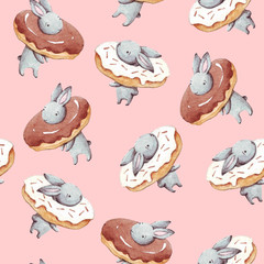 Cute watercolor seamless pattern. Wallpaper with party donuts and sweet fantasy bunneis cartoon animals on pink background. Hand drawn vintage texture.