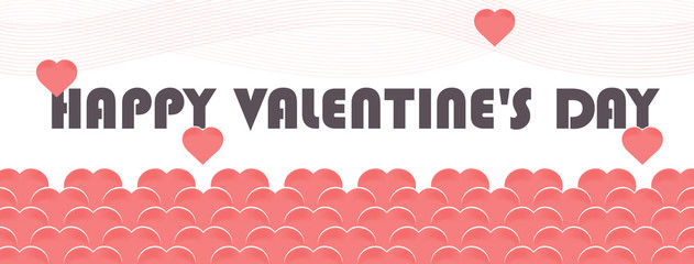 Vector background with text Happy Valentines day, balloons in the form of hearts of pink or coral color.