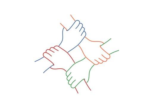 Teamwork. Four United Hands. Line drawing vector illustration.