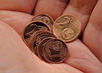 Cent-Münzen,Euro,Kleingeld,Nahaufnahme