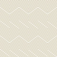 Golden vector geometric seamless pattern. Modern graphic texture with lines, stripes. Simple abstract geometry. Subtle minimalist white and gold background. Trendy design for print, fabric, textile