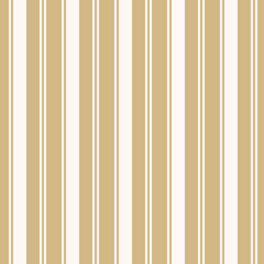 Golden stripes seamless pattern. Simple vector texture with thin and thick vertical lines. Modern abstract gold and white geometric striped background. Repeat design for tileable print, wallpapers