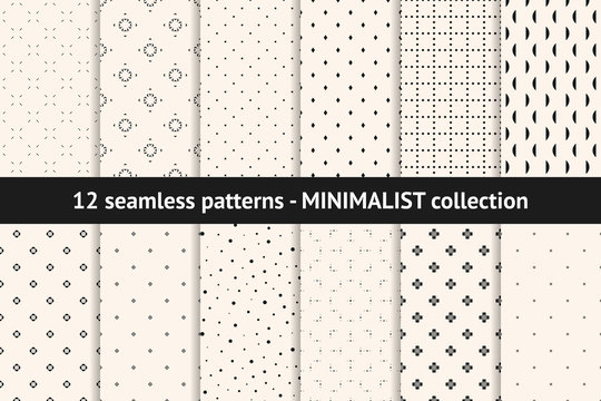 Set of minimalist seamless patterns. Vector geometric textures with small elements, dots, lines, flowers, diamonds. Collection of black and white minimal abstract background swatches. Modern design