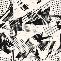 Modèle sans couture de grunge monochrome abstrait. Texture d& 39 art urbain avec des éclaboussures de peinture, des formes chaotiques, des lignes, des points, des triangles, des patchs. Fond de vecteur de style graffiti noir et blanc. Répéter la conceptio