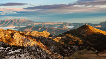 Cloudy and foggy sky over europe peaks from Covadonga Lakes