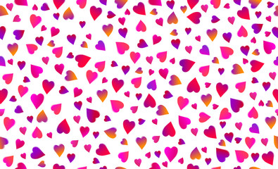 Wall Mural - Seamless background with pink and red valentines hearts. Valentines greeting banner. Horizontal holiday background, headers, posters, cards, website. Vector illustration