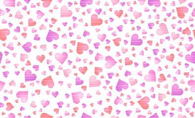 Wall Mural - Seamless background with pink valentines hearts. Valentines greeting banner. Horizontal holiday background, headers, posters, cards, website. Vector illustration