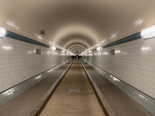 Famous old Elbtunnel in Hamburg city
