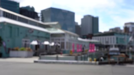 Fotomurales - Blur 4K video of Street view of Wellington City centre in New Zealand.
