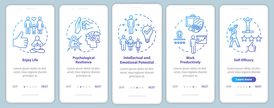 Mental health onboarding mobile app page screen with concepts. Psychological wellness walkthrough five steps graphic instructions. Enjoy life. UI vector template with RGB color illustrations