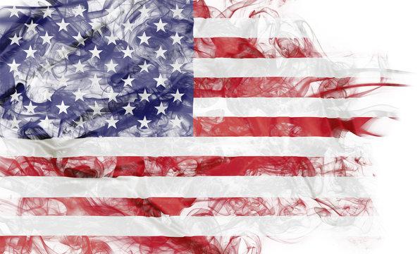 Smoke shape of national flag of United States of America isolated on white background.