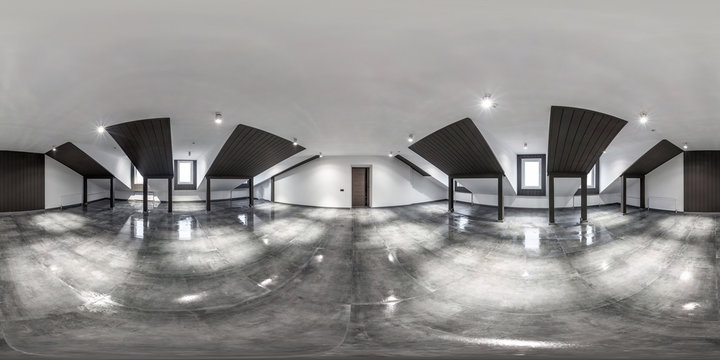 empty white room without furniture. full seamless spherical hdri panorama 360 degrees in interior room in modern apartments,  office or clinic in equirectangular projection