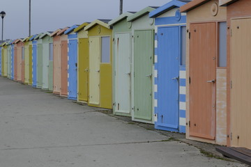 colourful retro bathing huts